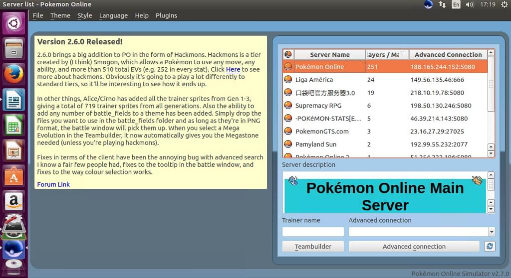 pokemon online linux game