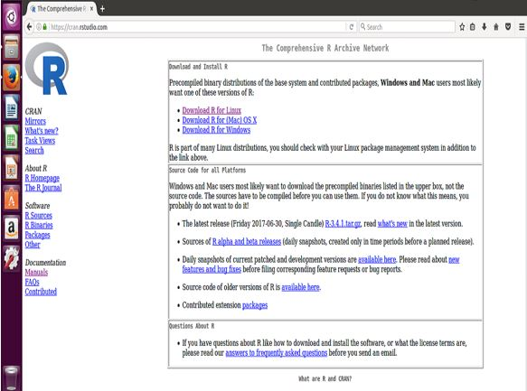 Screen Capture of RStudio Web Home Page