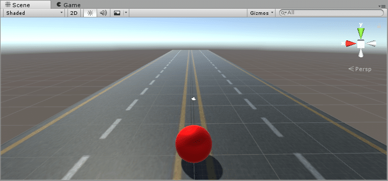 Unity3D Red Ball on Road